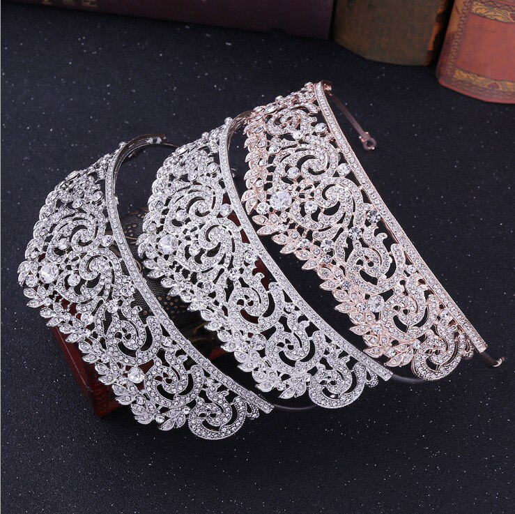 Wedding Hair Accessories Bridal Wedding Crown Rose Gold/Silver Color Crowns and Tiaras Full Rhinestone Headpiece Diadem Crown