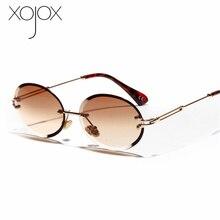 XojoX Women Fashion Rimless Sunglasses Luxury Brand Designer Matel Frame Oval Sun Glasses Gradient Shades Eyewear Ladies Goggles