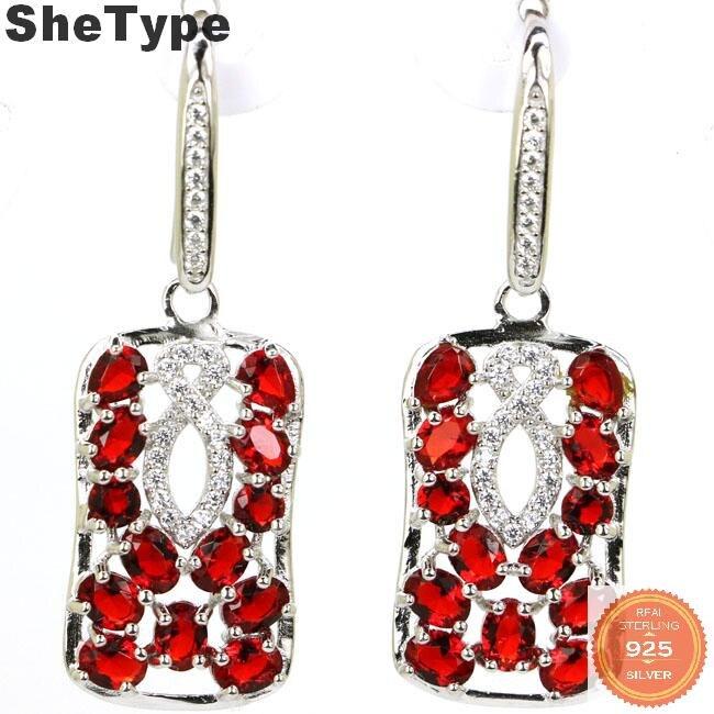 39x13mm romántico creado 4,9g rubí de color de rojo sangre CZ Topacio ahumado regalo para la hermana sólida plata esterlina 925 pendientes de tuerca