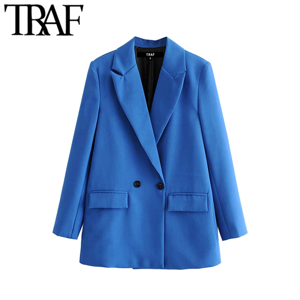 TRAF Women Chic Office Lady Double Breasted Blazer Vintage Coat Fashion Notched Collar Long Sleeve L