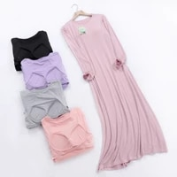 long sleeve nightdress with chest pad solid color loose comfortable home pijamas o neck long night dress women casual clothes