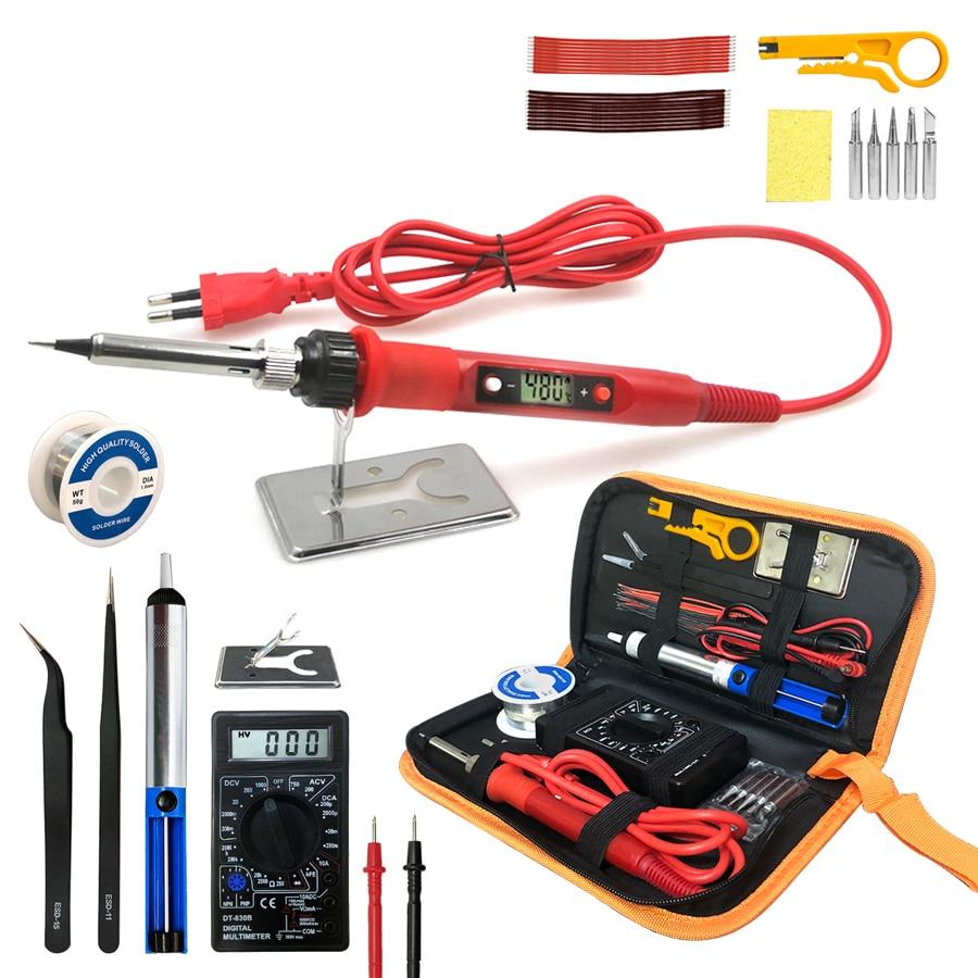 Soldador eléctrico digital de 80 W 220 V 110 V temperatura ajustable con pantalla LCD kit de herramientas de soldadura de soldadura