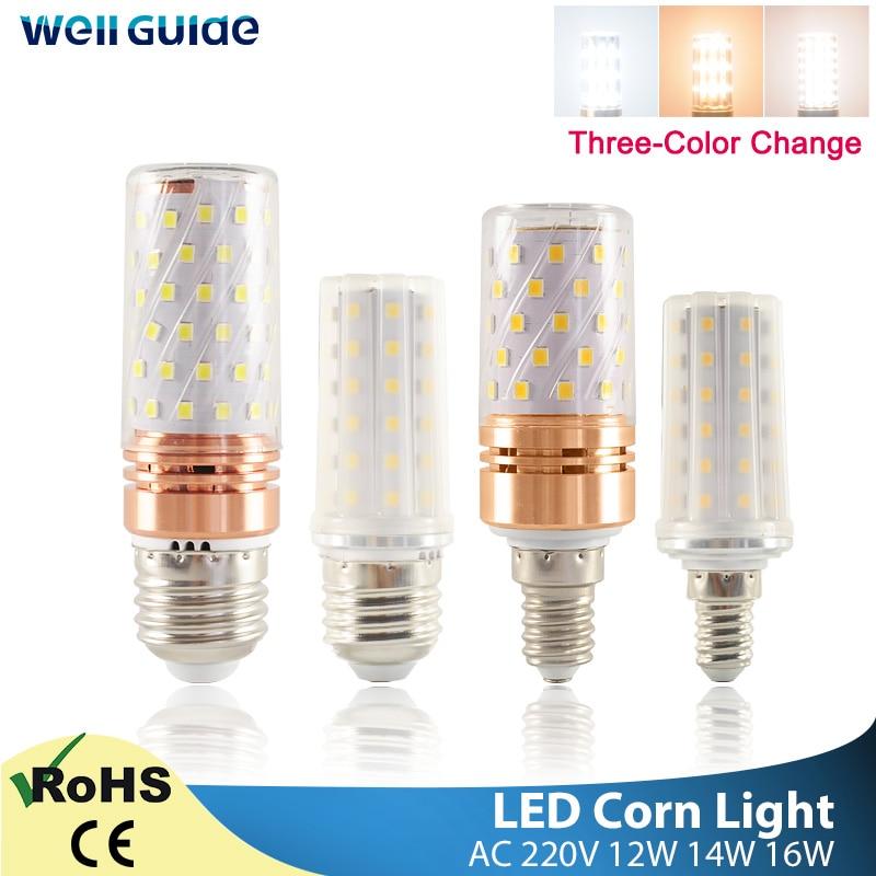 E27 светодиодная лампа E14 Светодиодная лампа Кукуруза Лампа 3 Вт 12 Вт 14 Вт 16 Вт SMD2835 AC 220 В 240 В люстра Свеча Светодиодная лампа для украшения дома
