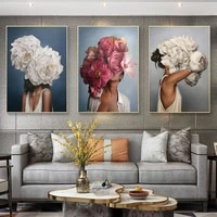 modern nordic floral feather woman abstract fashion style canvas painting art print poster picture wall living room home decor