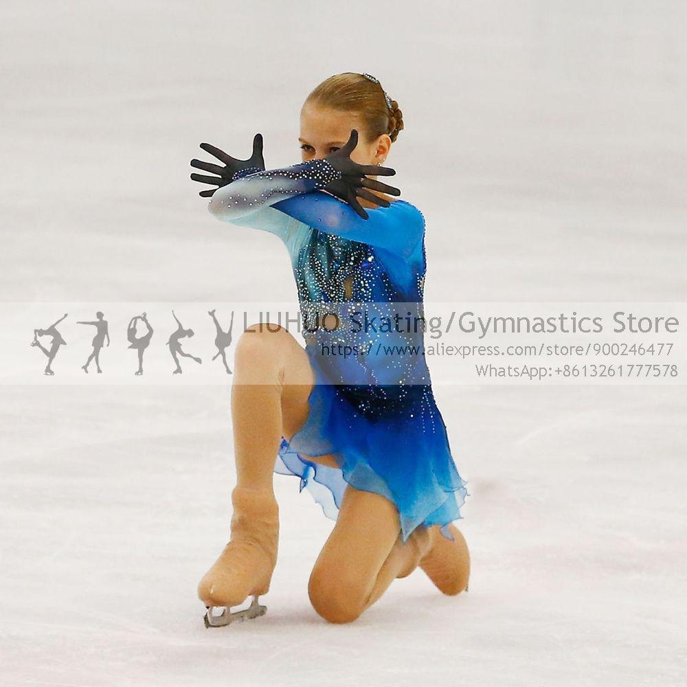LIUHUO Ice skating dress girls Blue Spandex skate skirt leotards gymnastics Teens Figure Skating dress dance costumes for women