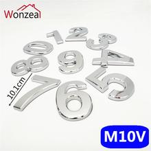 10cm 0123456789 ABS plastic Modern Plaque Door Number House Hotel Door Address Digits Sticker Door Plate Sign Silver Color