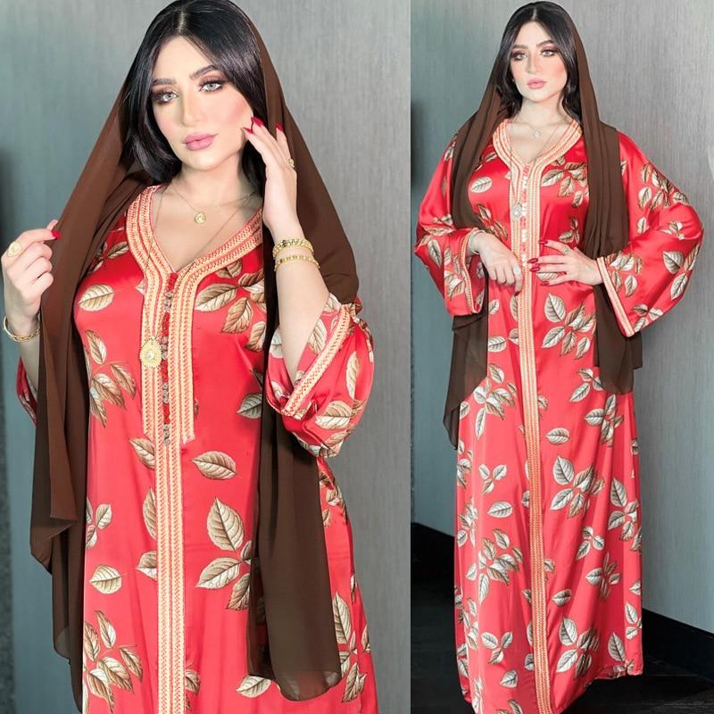Women Muslim Long Dress Jellaba Kaftan 2021 Summer Printed Elegant Dubai Abaya Islam Fashion Vintage Red Maxi Dresses African