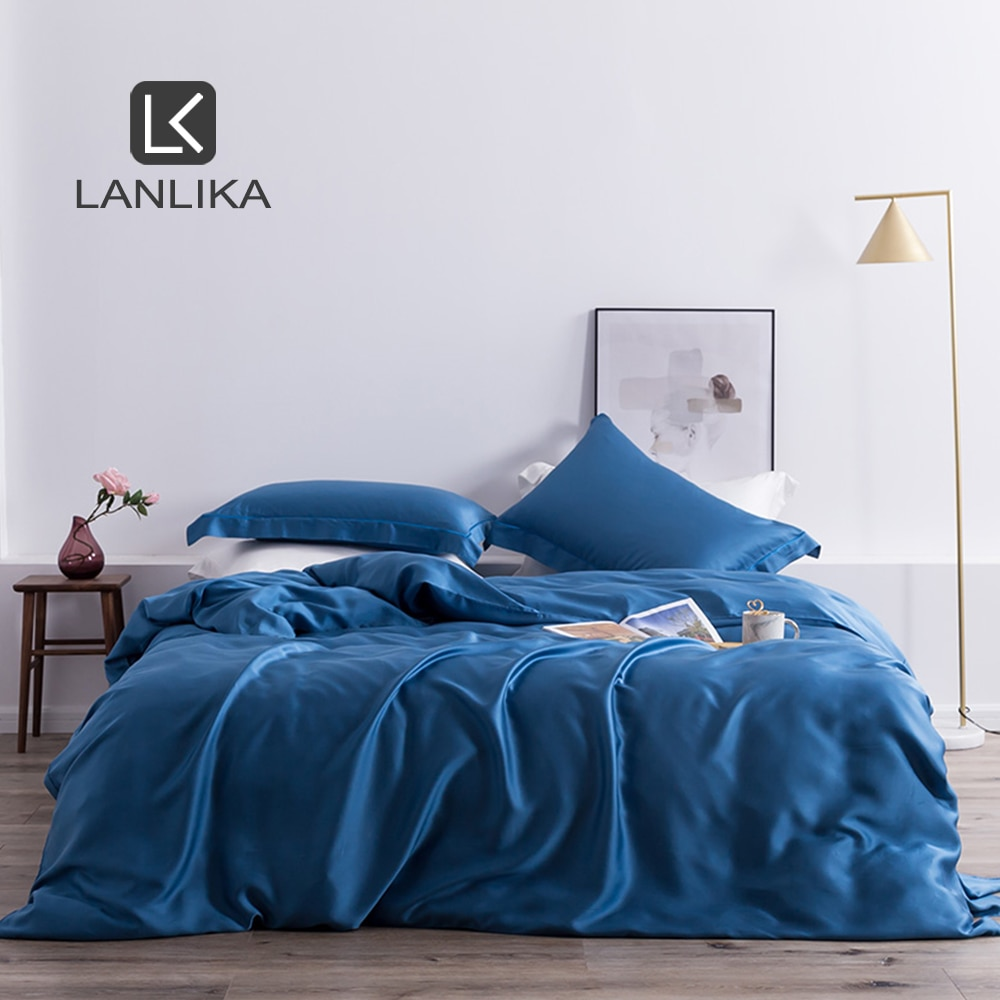 Lanlika Luxury 100% Silk Beauty Bedding Set Nature 25 Momme Silk Healthy Duvet Cover Double Queen King Bed Linen Home Textile