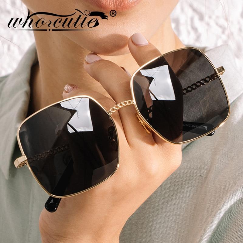 WHO CUTIE Vintage Chain Sunglasses Women 2020 Luxury Brand Design Retro Big Frame Gradient Lens Square Sun Glasses Lady S210