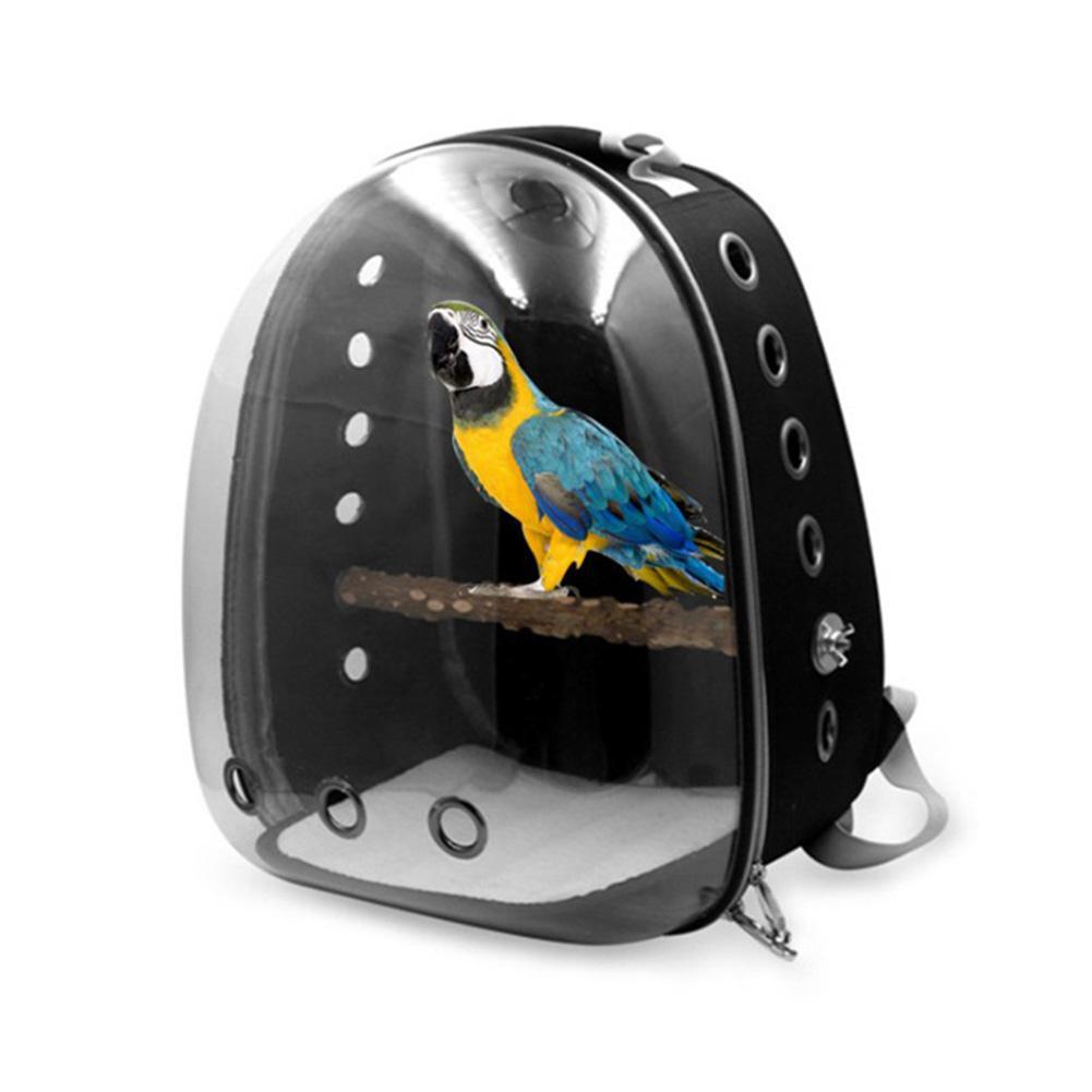 Hot Sale! Portable Oxford PVC Cloth Transparent Cover Hollow Design Case Safe Parrot Bird Travel Bac