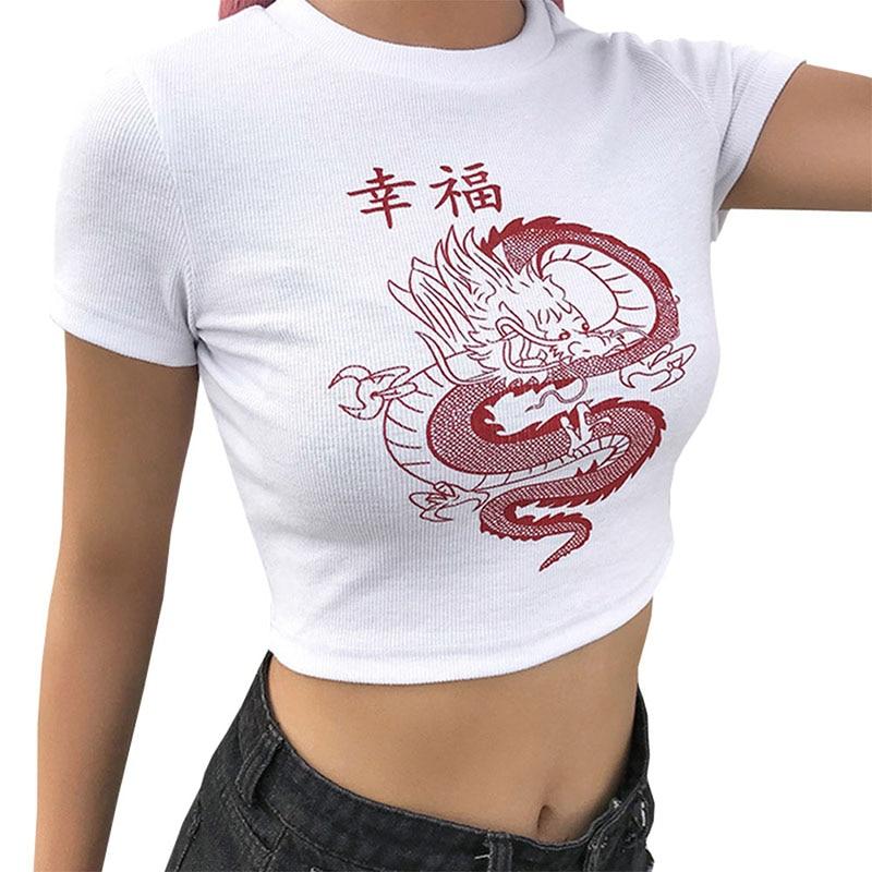 S-3XL Women Summer Harajuku T shirt Chinese Character Dragon Print T Shirt Girls Crop Tops Casual Tee Slim Camisa Mujer Femme