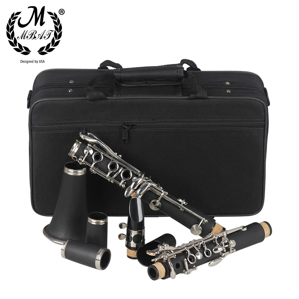 M MBAT Black Clarinet B Flat 17 Key High quality Woodwind Instrument Bakelite Clarinet With Box Cleaning Cloth Music Accessories enlarge