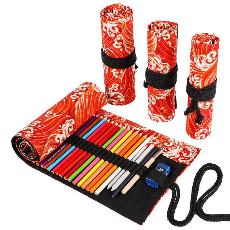 12/24/36/48/72 agujeros de lona enrolladas pluma cortina estuche maquillaje soporte para envoltorio bolsa de almacenamiento suministros escolares