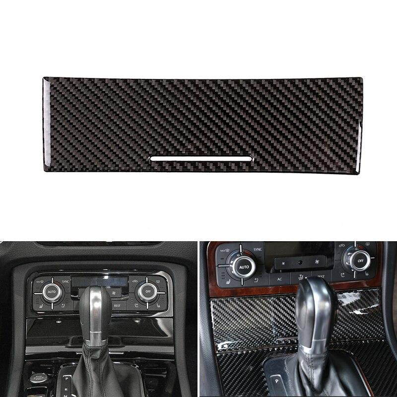 Fibra de carbono Real coche estilo Centro de Control Panel Cenicero caja recortada para VW Touareg 2011 2012 2013 2014 2015 2016 2017 2018