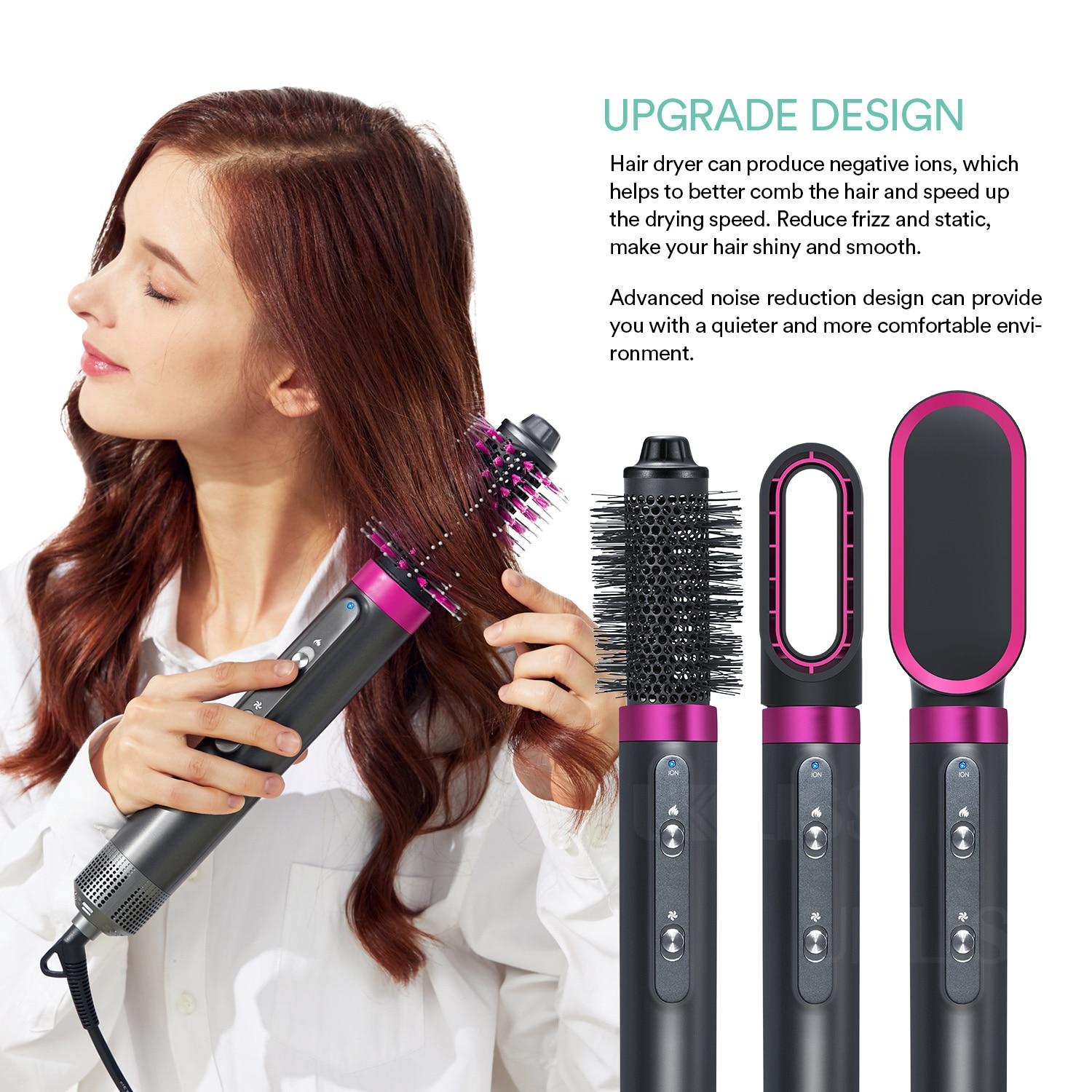 Electric Hot air Brush Dryer Negative Ionic Blow High Speed Hairdryer Hot Cold Salon Blower Comb 3-Gears Temeperature Wind Dryer enlarge