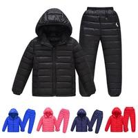 Winter Children\'s Lightweight Hooded Jacket Boys Cotton Jacket Boys and Girls Light Top + Pants Set