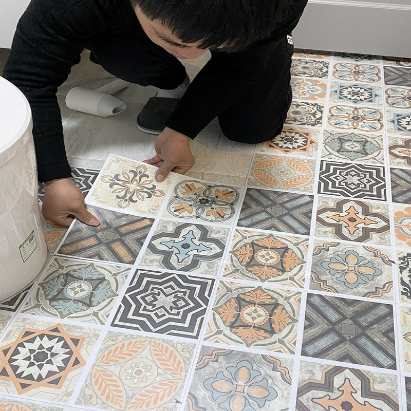 ПВХ ванная комната водостойкая напольная плитка кухня напольная плитка Нескользящая износостойкая цементный пол самоклеющиеся напольные ...