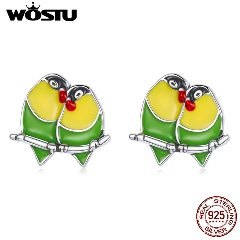 WOSTU 2021 925 Sterling Silver Animals Cute Two Orioles Love Stud Earrings For Women Fashion Party Jewelry CQE1278