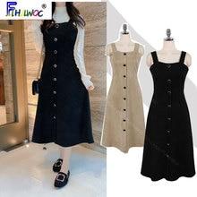 2020 Spring Cute Sleeveless Dresses Long Women Sweet Japanese Korean Style Preppy Girls A Line Button Shirt Dress Black 1012