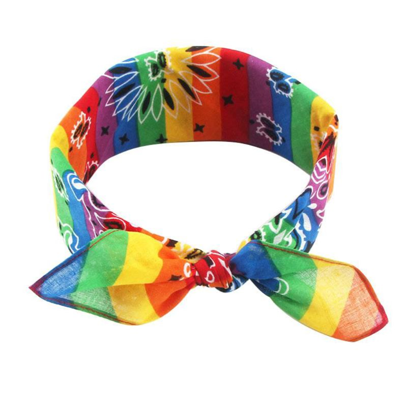 Rainbow Stripes Paisley Floral Women Girl Cotton Pocket Square Scarf Cute Rabbit Ear Headband Bandana Hip-Hop Wristband Neck Tie