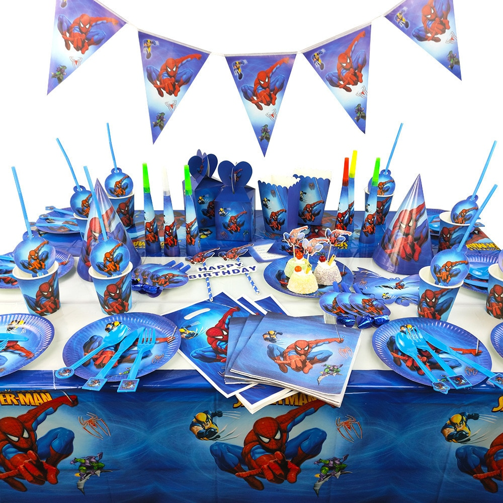 Spiderman dekoracja urodzinowa talerz papierowy kubek serwetka Banner CandyBox słomkowy zestaw stołowy Baby Shower zaopatrzenie firm