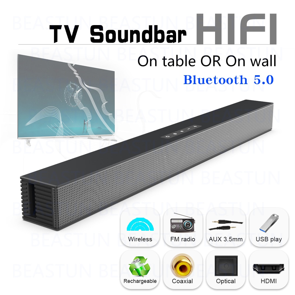 Beastun TV Soundbar Home Theater 40W Wireless Stereo Speaker Optical Coax ARC AUX Bluetooth Sound Bar Subwoofer for TV PC iPhone
