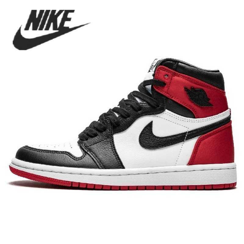 -Zapatillas Nike Air Jordan 1, calzado Retro Negro, dedo de los hombres,...