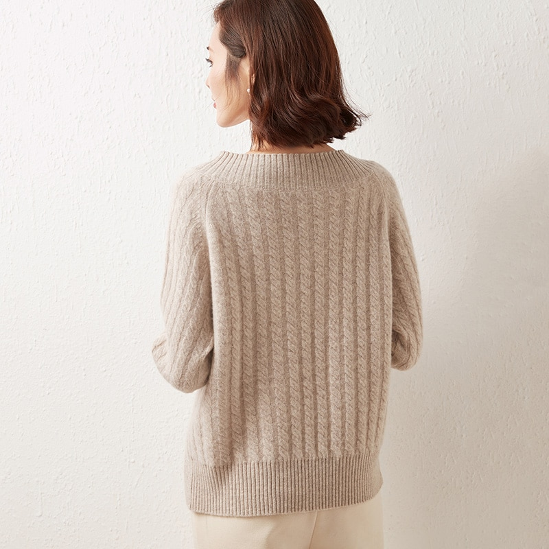 MeetMetro 100% Merino Wool Women Sweater Pullovers V-Neck Knitted Sweater Winter Warm Chunky Sweaters High Street Jumpers Women enlarge