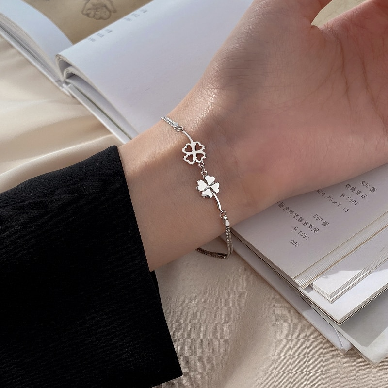 Silver 925 Sterling Silver Clover Double-Layer Bracelet for Women 2020 New Trendy Sweet Couples Brac