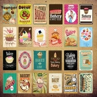 Cafe de boulangerie En Metal Signes Aliments Sucres Sandwicherie Etain Affiche Vintage Maison Cuisine Cafe Boutique Decoration Art Mural Plaque YI-229