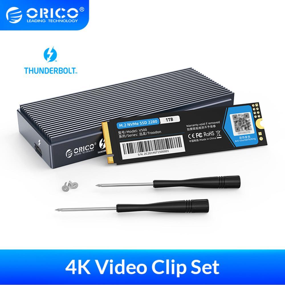 ORICO-Thunderbolt 3 4K Video Clip PSSD خارجي ، 40 جيجابت في الثانية ، NVME M.2 ، SSD 1 تيرا بايت ، PSSD ، Thunderbolt 3 ، كابل الألومنيوم ، SSD عامل الفيديو