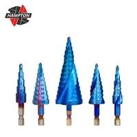 step drill bit hss 4 12 4 20 4 32mm nano blue coated step cone drill hex shank step drill bit for wood metal hole cutter