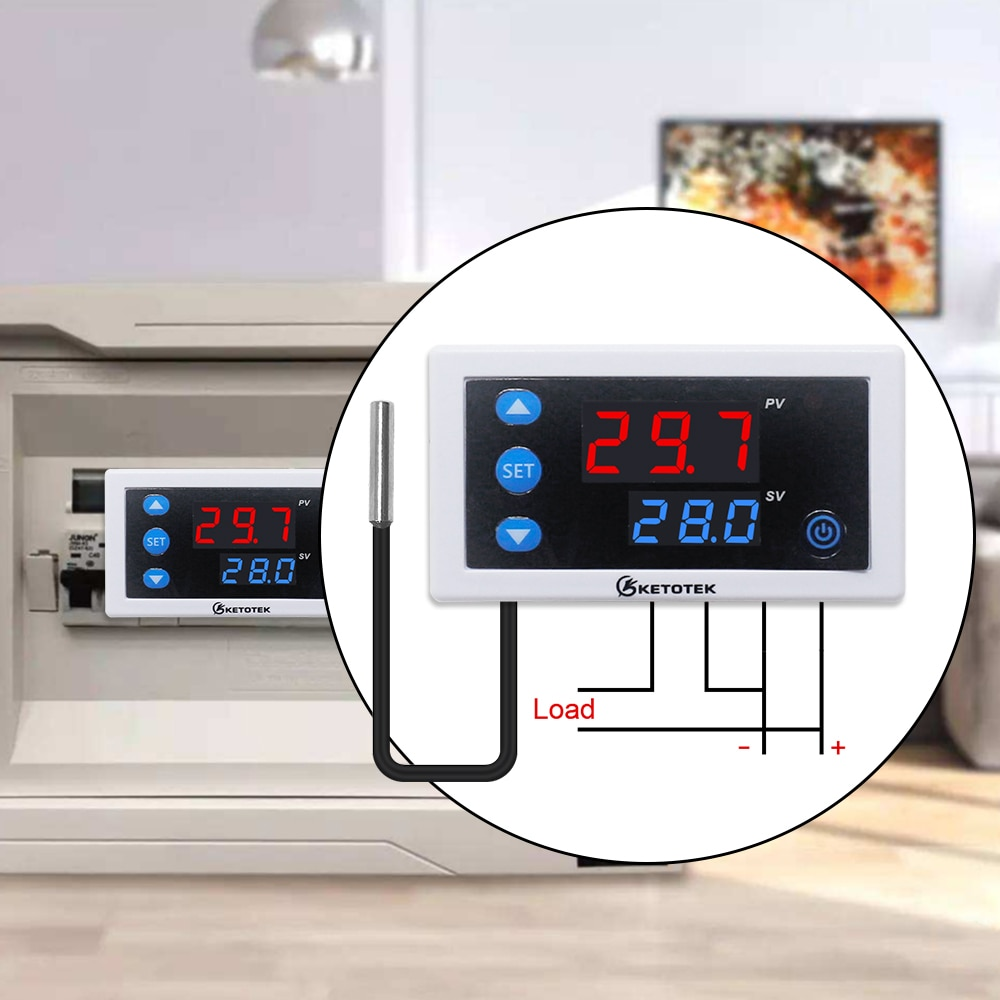 Digital Temperature Controller Thermostat W3230 DC 12V 24V AC110V-220V LED Display Heating Cooling White Black Waterproof Probe