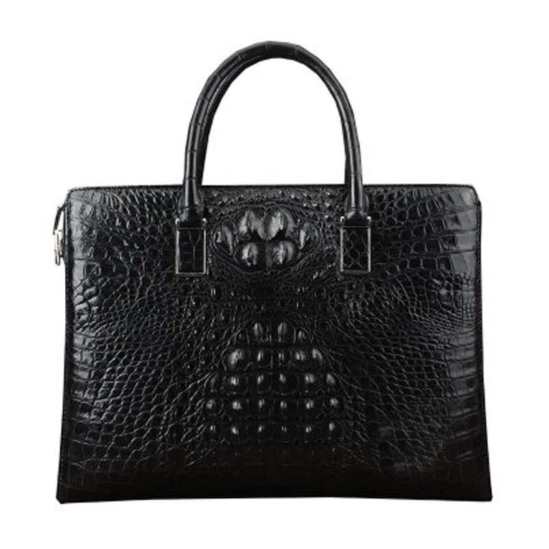 ourui new Real crocodile leather male briefcase black Genuine leather business men handbag  large capacity men bag