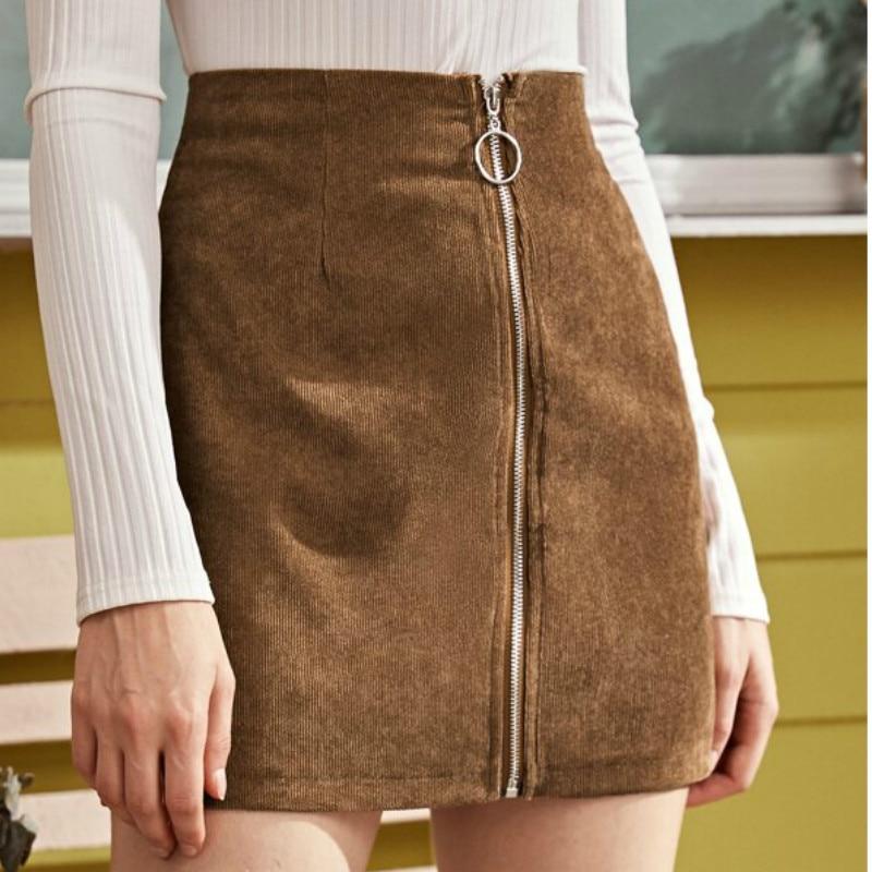 Falda ceñida de pana para mujer de cintura alta con cremallera frontal Streetwear estilo coreano k-pop Mini vestido 2019 nueva moda
