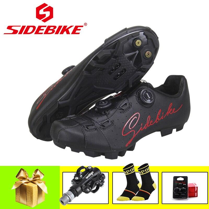 SIDEBIKE-zapatos para ciclismo de montaña, transpirables con autosujeción y pedales, para hombre