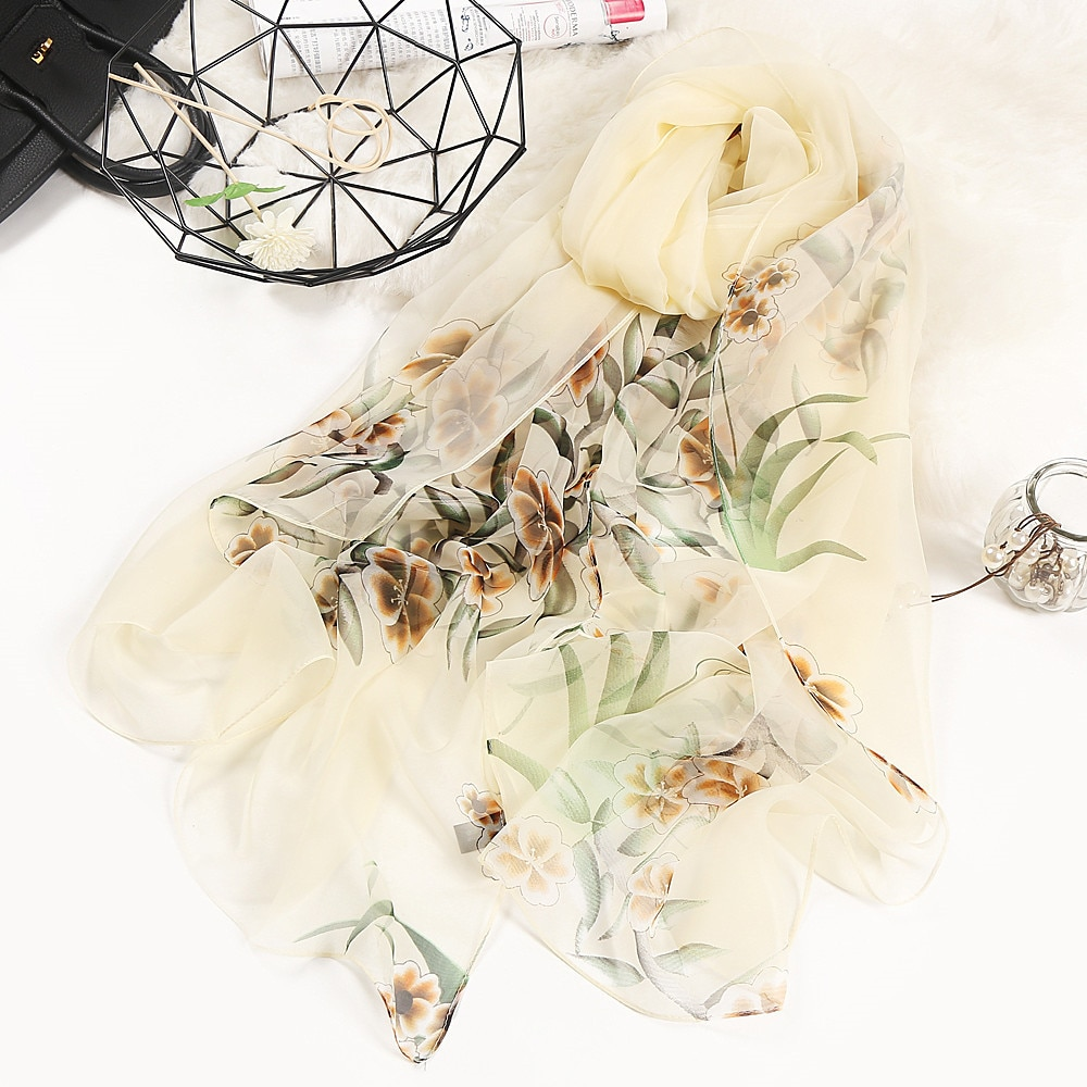Fashion Floral Printing Chiffon Scarves Silk Scarf Women 180*90cm Large Long Soft Sunscreen Scarf Scarves Wrap Beach Shawl недорого