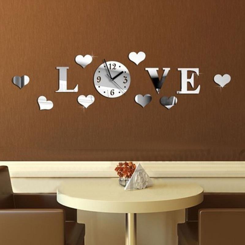 Reloj de pared Stiker calcomanía reloj de acrílico de vidrio 3D DIY efecto espejo de Casa pegatinas de espejo decoración plateada reloj de suelo de plata amor