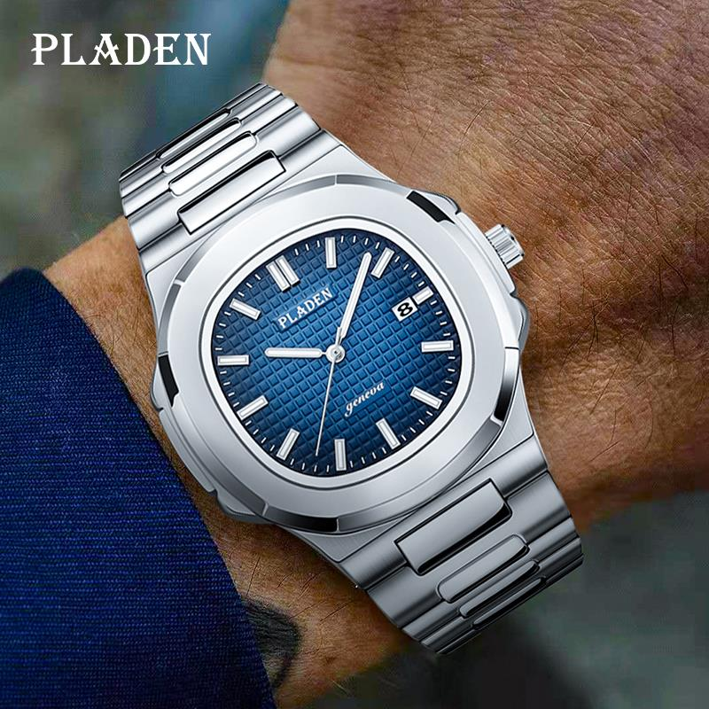 PLADEN Business Men Watch Luxury Fashion Quartz Wristwatch Male Stainless Steel Strap Gradient Blue