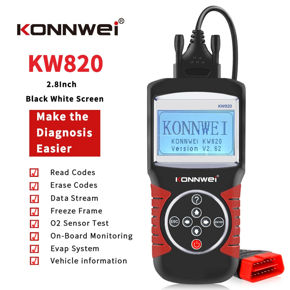 Handheld KW820 OBDII Car Scanner OBD2 Diagnostic Tool OBD Auto Engine Fault Detector Vehicle EOBD Code Reader Multi-languages autool x50 pro obdii hud obd head up display car speed meter scanner multi function automobile speedometer with fault diagnosis