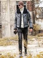 fur one mens real leather winter new fashion sheepskin fur coat original ecology wool overcoat