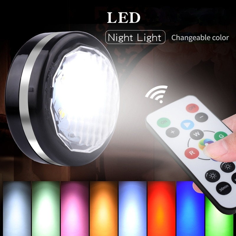 3/6 lamp LED Round Night Light Dimming Remote Control Cabinet Warm RGB Color Bedroom With A