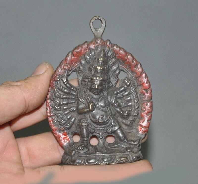 Casamento Decoração Budismo Tibetano Bronze 1000 braços Mahakala Colérico Divindade estátua amuleto Pingente