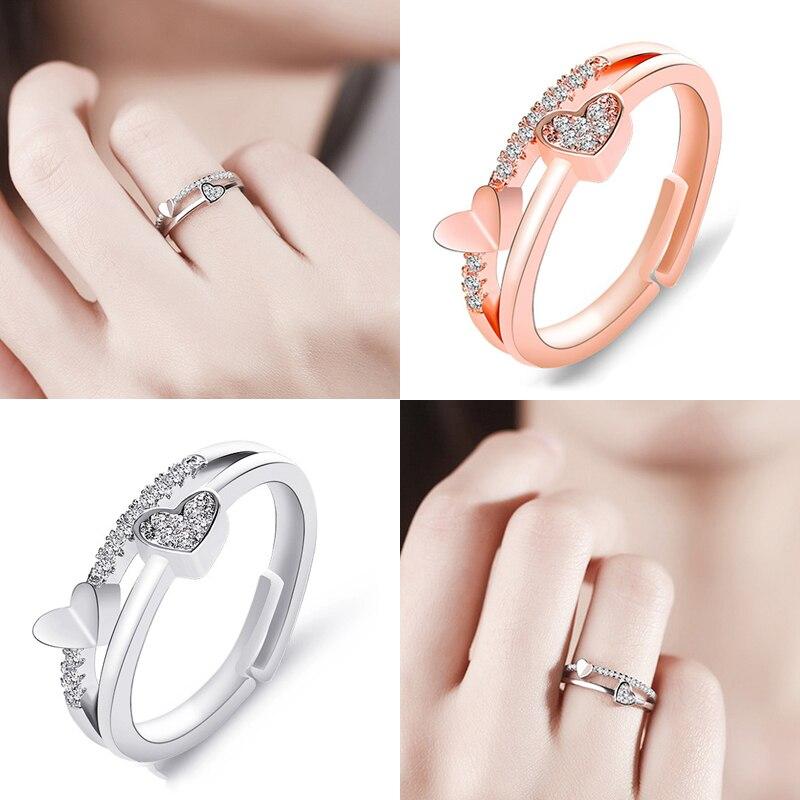 Anillos de corazón para mujer ajustable único Simple Bijoux amor boda joyería mujer anillo chica Anel Anillos accesorios regalo