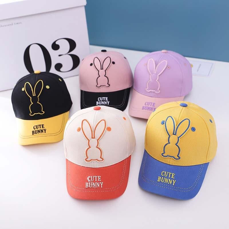 Бейсболки ncmama с вышивкой в виде кролика из мультфильма, новые бейсболки на весну и лето, детская шапка в виде кролика для мальчиков и девочек