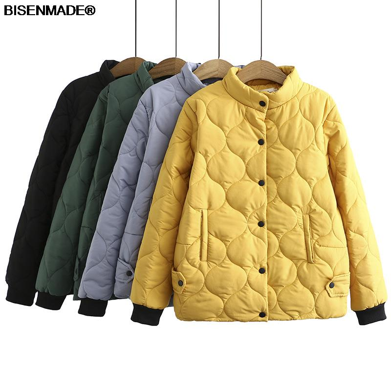 Autumn Winter Parka Women Clothes Plus Size&Curve 2021 New Padded Coat Single Breasted Stand Collar Outerwear Casual Warm Jacket