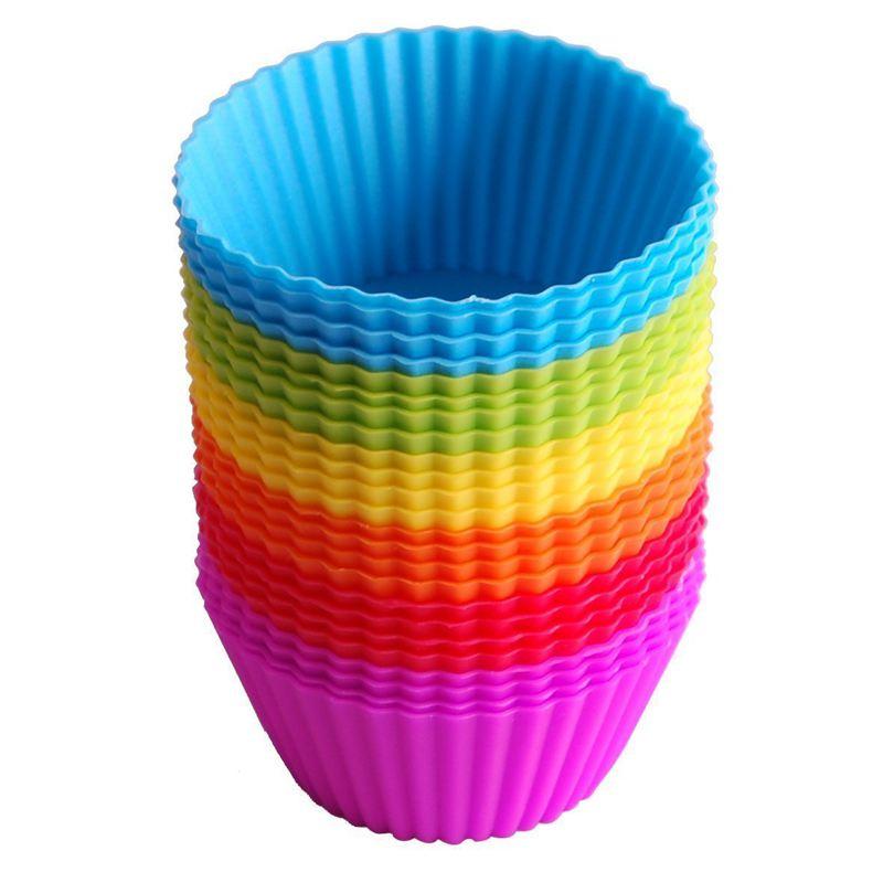 Moldes de silicona para hornear magdalenas, 24 Uds., moldes antiadherentes reutilizables 6 colores