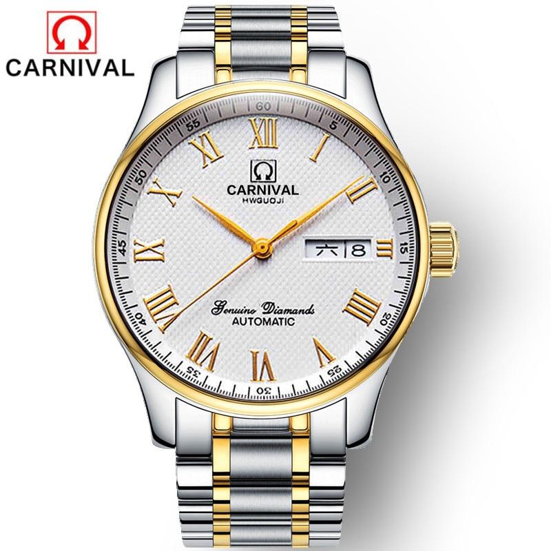 CARNIVAL Top Brand Gold Business Watch Men Fashion Mechanical Wristwatches Waterproof Calendar Automatic Clock Relogio Masculino