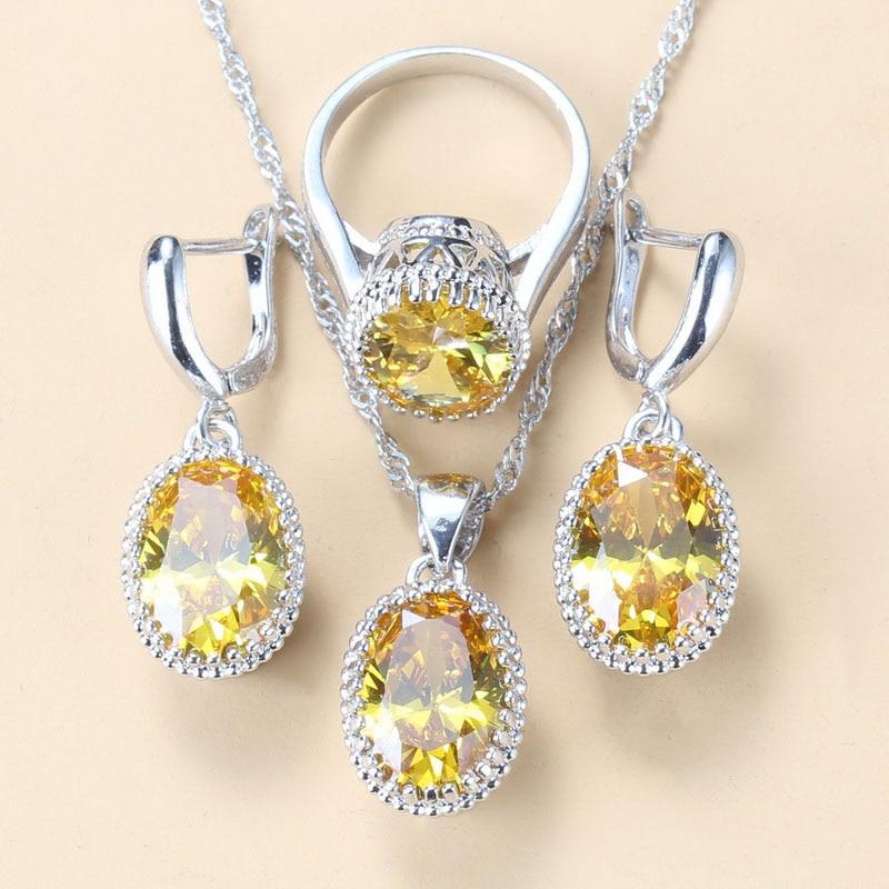 Модный винтажный костюм Серебряный цвет Ювелирные наборы желтый циркон 8 цветов s подарок для женщин наборы
