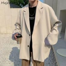 Blazers Men Leisure British-style Trendy Loose All-match Simple Korean Suit-tops Male Single-breaste